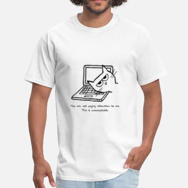 Cat Computer Angry Cat and Computers - Men's T-Shirt