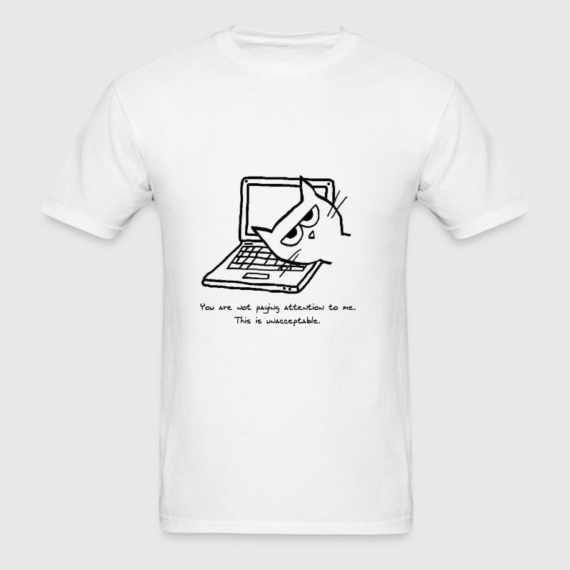 Angry Cat and Computers - Men's T-Shirt