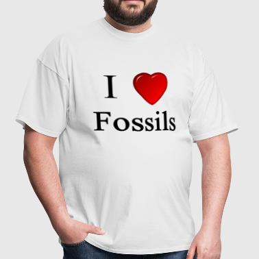 i love fossils heart digging dirt dinosaur  - Men's T-Shirt
