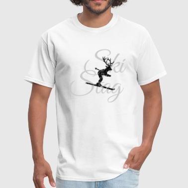 Ski Stag Deer (Gray) - Men's T-Shirt