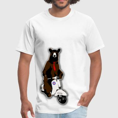 Hipster bear on a moped - Men's T-Shirt