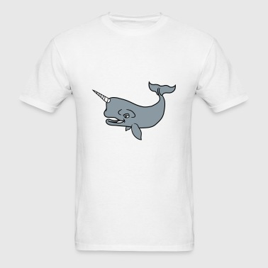 narwal horn unicorn gray whale blue whale pot whal - Men's T-Shirt