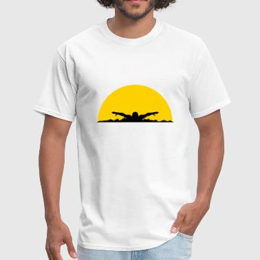 waves evening sun night palms beach island sea hol - Men's T-Shirt