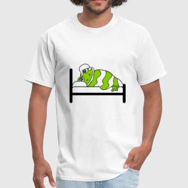 tired bed sleeping night calm relaxation frog lyin - Men's T-Shirt