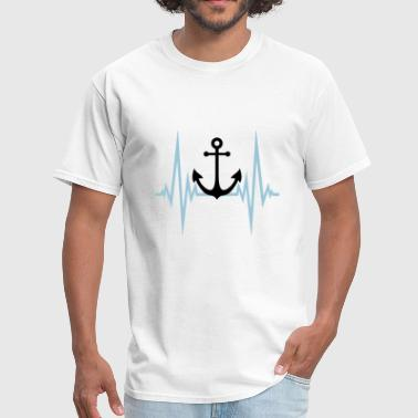 Bootboy heartbeat pulse frequency anchor boat ship swimmin - Men's T-Shirt