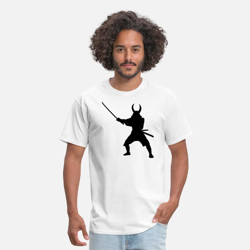Art T-Shirts - Samurai Warrior Silhouette - Men's T-Shirt white