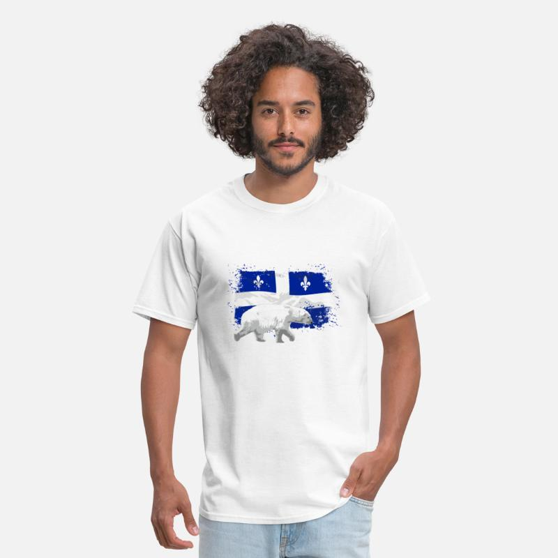 Quebec T-Shirts - Polar Bear - Quebec Flag - Men's T-Shirt white
