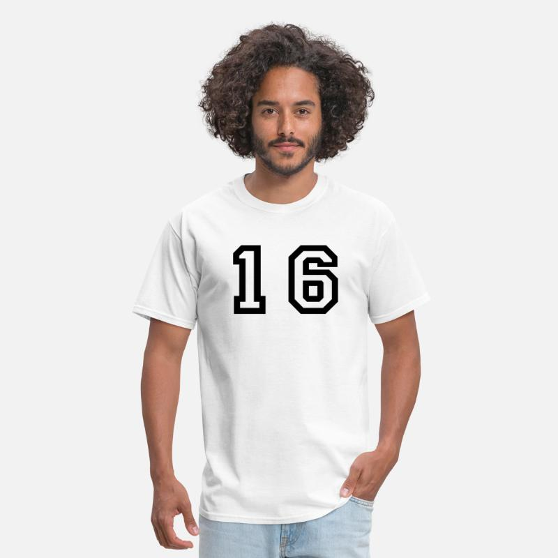 Number T-Shirts - number - 16 - sixteen - Men's T-Shirt white