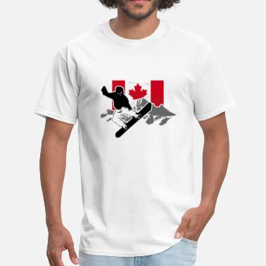 Whistler Snowboarding - Canada Flag - Men's T-Shirt