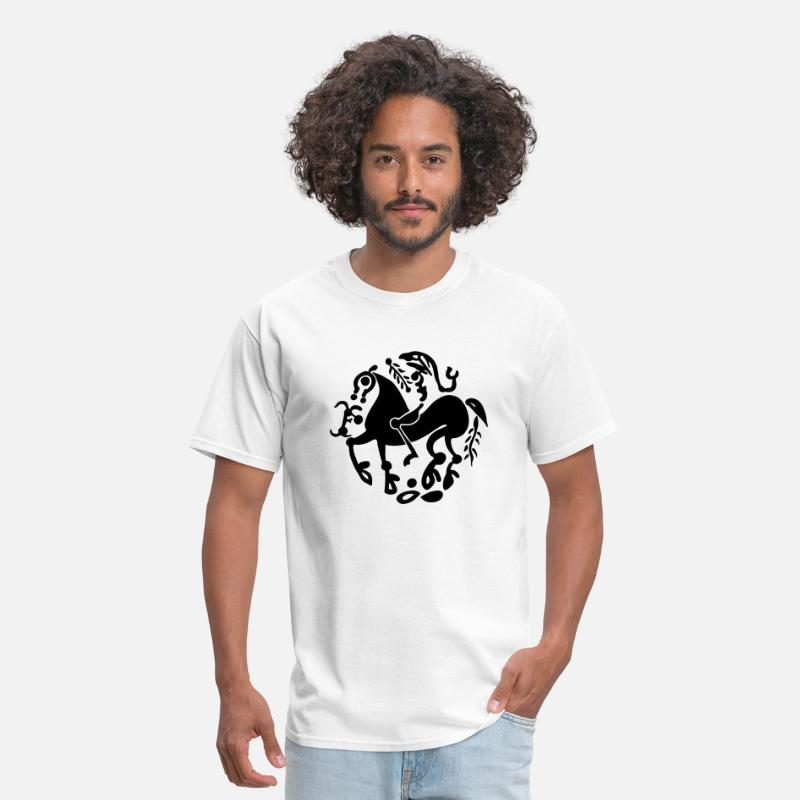 Art T-Shirts - Celtic Horse & Warriior - Men's T-Shirt white