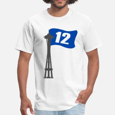 Seahawks Seahawks 12th MAN FLAG Seattle Space Needle Shirt - Men's T-Shirt