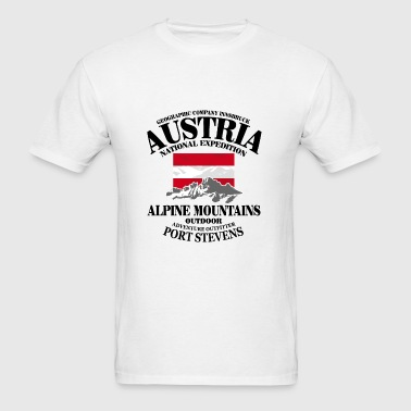 Austria - Flag & Mountains - Men's T-Shirt