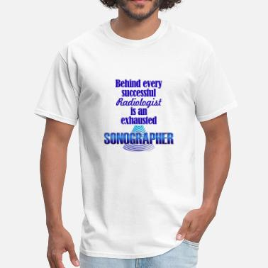 Medical Sonographer Exhausted Sonographer Blue - Men's T-Shirt