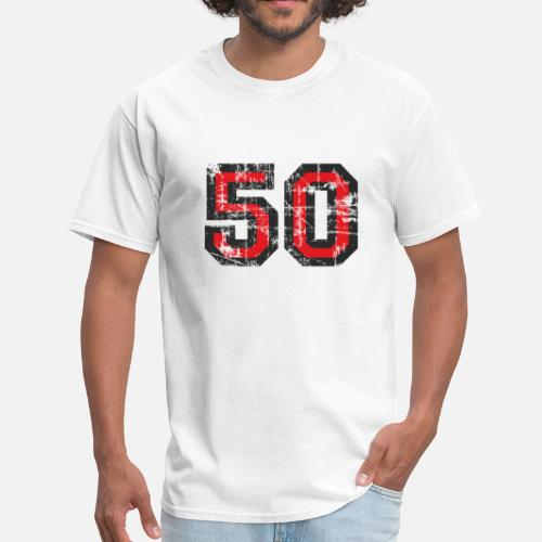 Mens T ShirtNumber 50 Fifty 50th Birthday Design