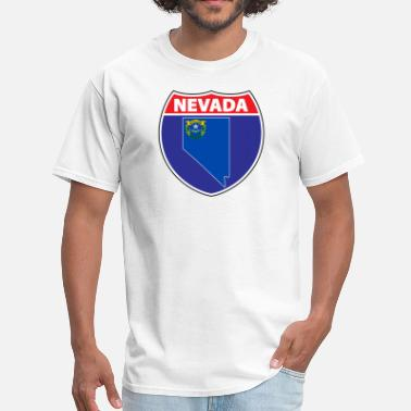 Nevada Flag Nevada flag hwy sign - Men's T-Shirt