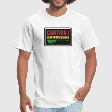 ‏‏Caution Electronica - Men's T-Shirt