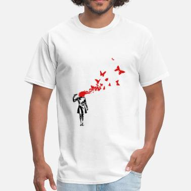Banksy Stencil Banksy banksy butterlies - Men's T-Shirt