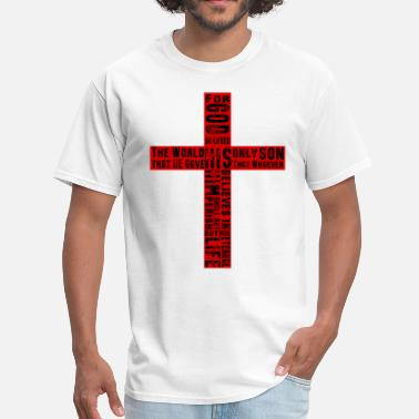 Psalm Verse John 3:16 for God so Loved the World Cross - Men's T-Shirt