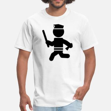 Font Police Police with Bat Running Stickman - Men's T-Shirt