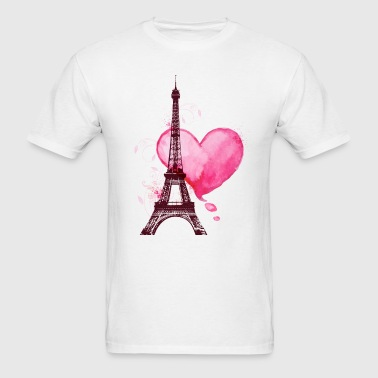 Eiffel Tower and heart - Men's T-Shirt
