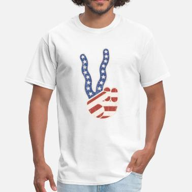 Trippy Long Wavy Peace Flag Hand - Men's T-Shirt