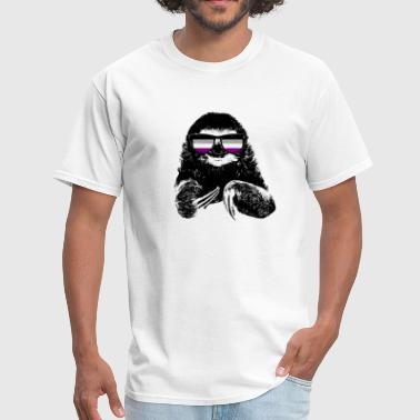 Asexual Flag Pride Sloth Asexual Flag Sunglasses - Men's T-Shirt