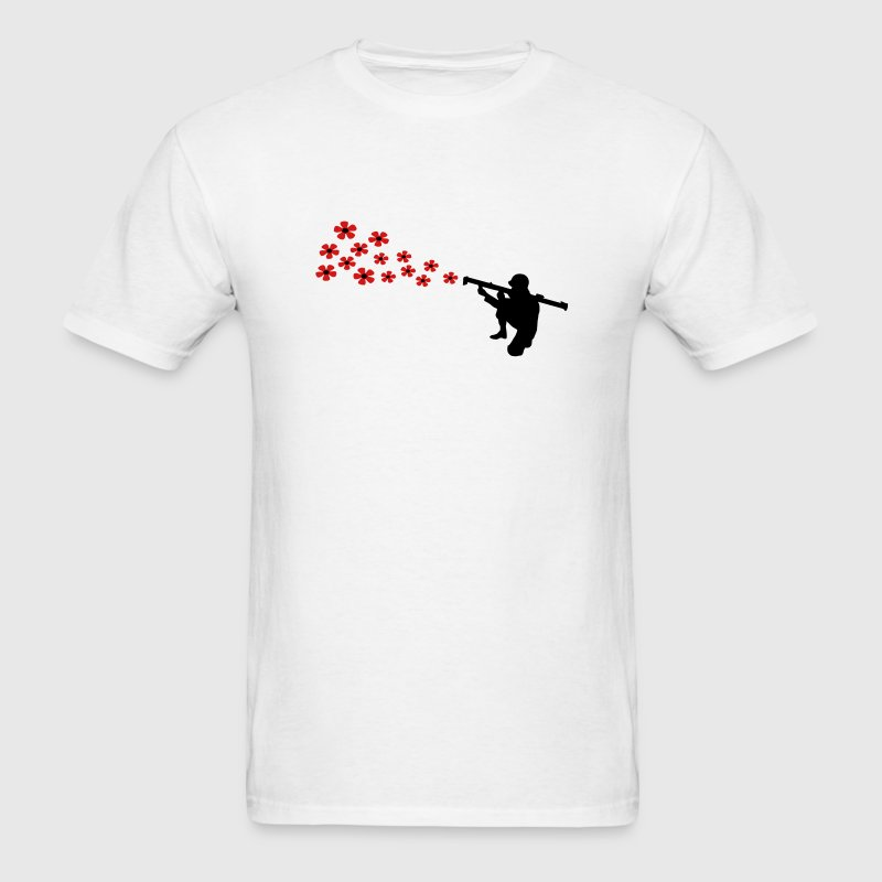 The anti-war motif bazooka soldier shoots with flowers. - Men's T-Shirt