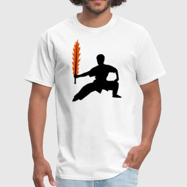 Sword Silhouette Wushu Flaming Sword Silhouette - Men's T-Shirt