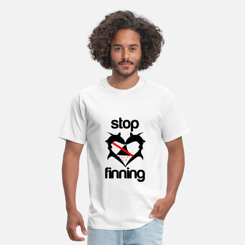 Shark Fin T-Shirts - Stop Shark Finning - Men's T-Shirt white
