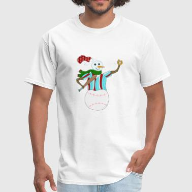 christmas baseball snowman lover funny gift party - Men's T-Shirt