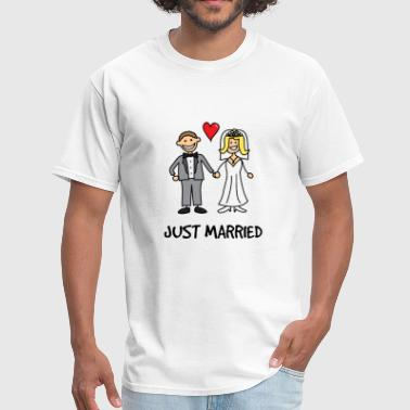 Just Married Newlyweds Cartoon - Men's T-Shirt