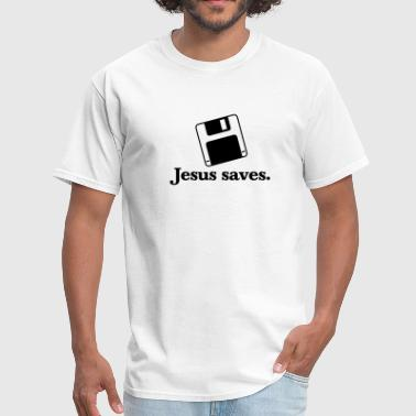 Jesus Saves to Floppy - Men's T-Shirt