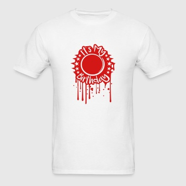stamp drop graffiti silhouette circle round number - Men's T-Shirt