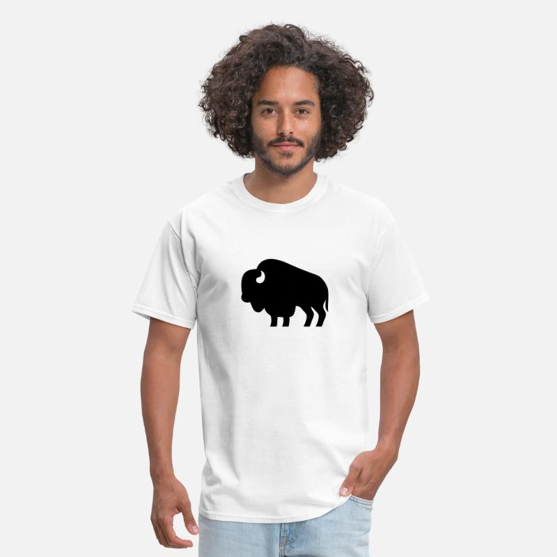 Usa T-Shirts - Bison Silhouette - Men's T-Shirt white