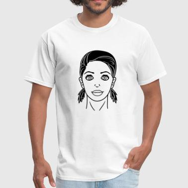face cute woman girl head female sexy hot braids c - Men's T-Shirt