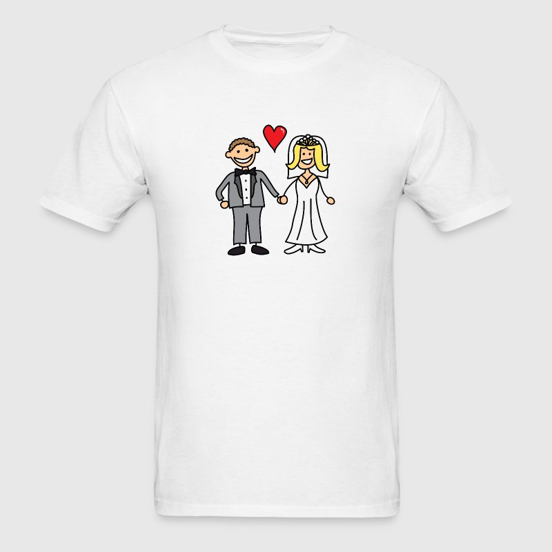 Bride and Groom Cartoon - Add Your Own Text - Men's T-Shirt
