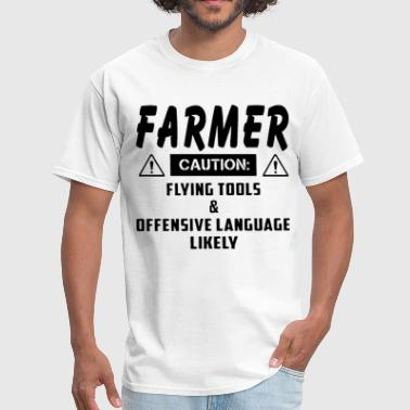 Offensive Languages farmer caution flying tools offensive language lik - Men's T-Shirt