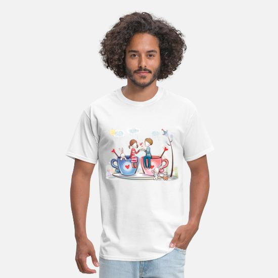 Couples T-Shirts - pictures love is - Men's T-Shirt white