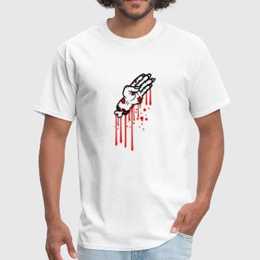 blood drops graffiti hand arm severed zombie dead - Men's T-Shirt