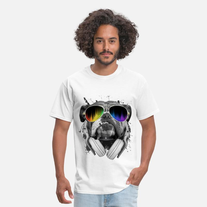 Funny T-Shirts - Bulldog Dj - Men's T-Shirt white