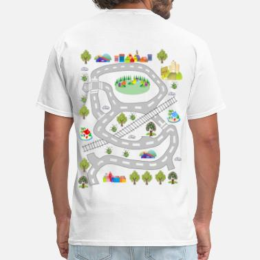 Car Track For Dad colorful houses - Men's T-Shirt