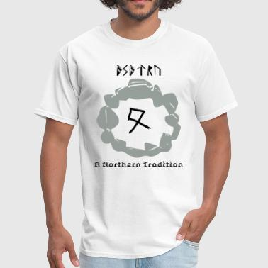 asatru written in runes - Men's T-Shirt