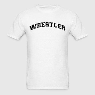 wrestler college style curved logo - Men's T-Shirt