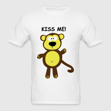 Monkey Kiss me couple Couples Ape Gorilla Kids  - Men's T-Shirt