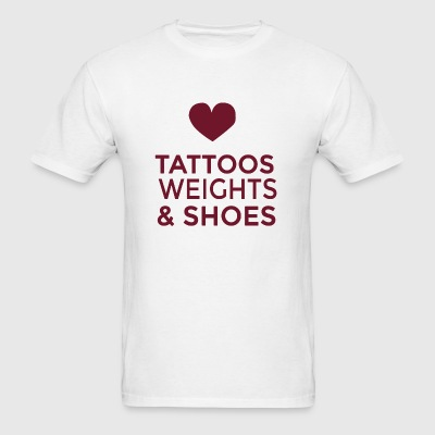 Gym - tattoos weights and shoes - Men's T-Shirt