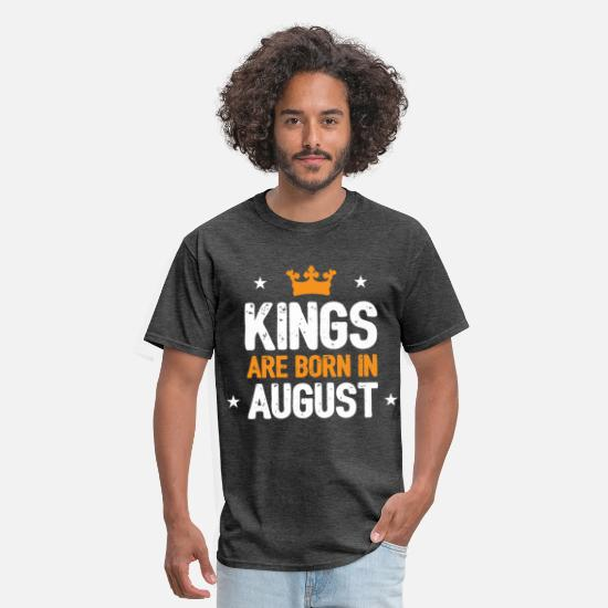 August T-Shirts - Kings Are Born In August - Men's T-Shirt heather black