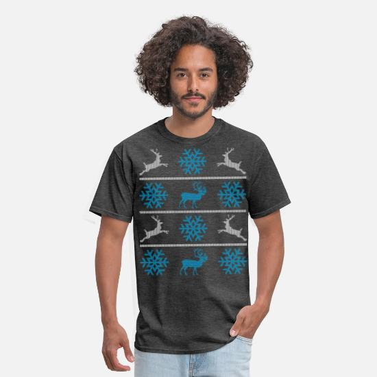 Ugly T-Shirts - Deers and snowflakes - Men's T-Shirt heather black