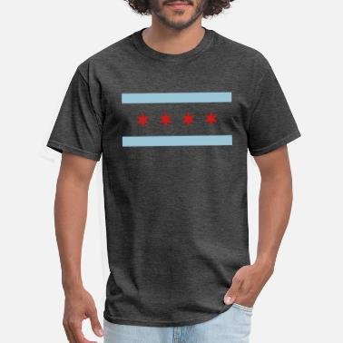 Illinois Flag chicago-city-flag - Men's T-Shirt