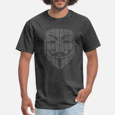 Guy Code Matrix Guy Fawkes Mask - Men's T-Shirt