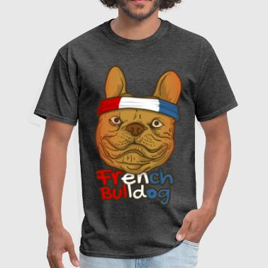 french buldog pug with france flag - Men's T-Shirt